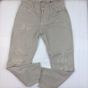 Zara Basic Denim Tan Distressed Jeans Size 2